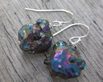 SEAPUNK iridescent crystal chunk sterling earrings