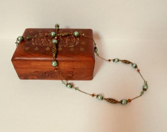 Green and bronze glass pearl and Swarovski crystal long delicate necklace