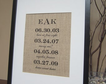 "Personalized Burlap Wedding Gift - Print 8"" x 10"" - Special Dates - Engagement, Shower, Wedding, Anniversary - Monogram"