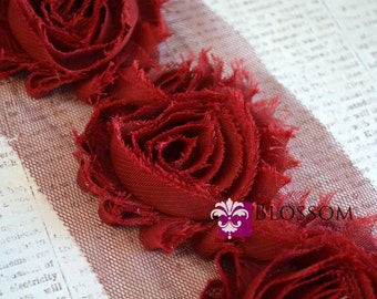 1/2 or 1 Yard Increments - DARK RED - Chiffon Shabby Rose Trim - Wedding Invitation Flowers - Headband flower