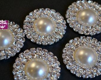 Metal Pearl and Rhinestone FLATBACK Embellishments 25mm - Flower Centers - Wedding Bridal Prom