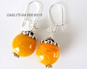 yellow agate and silver earrings, ready to ship, handmade, gifts for women