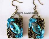 brass and aqua butterfly and chain earrings, handmade, gifts for women, butterfly, ready to ship