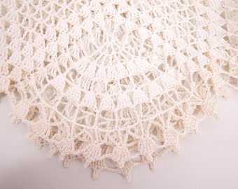 Vintage Crochet Doily Large Table Linen Centerpiece Tablecloth White and Ivory Hand crochet lace Runner