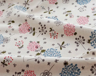 Half Metre Cotton Linen Fabric,Lilac Flower Pattern,Fresh Style,2 colors for choice(C303)