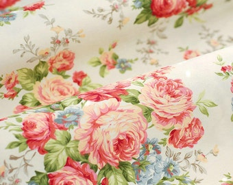Peony Cotton Fabric Pink Peony Cream Light Beige Cream Background Shabby Chic Fabric Large Flower Quilting Cotton 1/2 yard C302