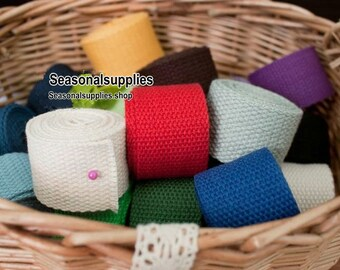 Cotton Webbing (25mm)1 Inch Five Yards Your Choice For Key Fobs Handbags 5 yards (T46)
