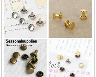 Make from Copper 6mm x 6mm brass double cap rivets 30 sets (For purse making) T45