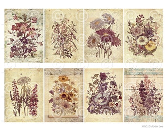 Digital Printable Shabby Chic Vintage Florals Botanical ATC Cards Collage Sheet