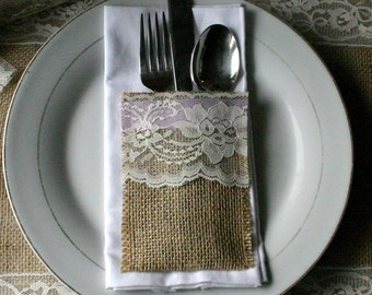 TEN Burlap wedding table decor, Burlap silverware holders,