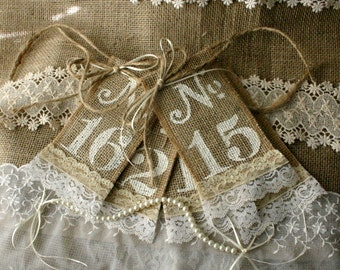 Burlap Table number tags for weddings