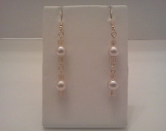 Dangle Earrings Gold Accented Pink Glass Pearl Bead Free US Shipping