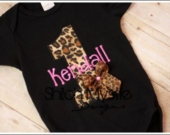 Cheetah Birthday Shirt-Leopard First Brithday Shirt Onesie-First birthday shirt-Leopard Cheetah Birthday
