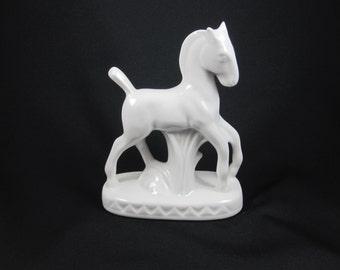 White Porcelain Horse Vase or Planter from Czechoslovakia