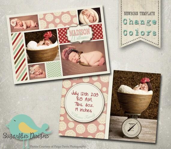 Girl Baby Announcement PHOTOSHOP TEMPLATE - Baby Girl Wonderland