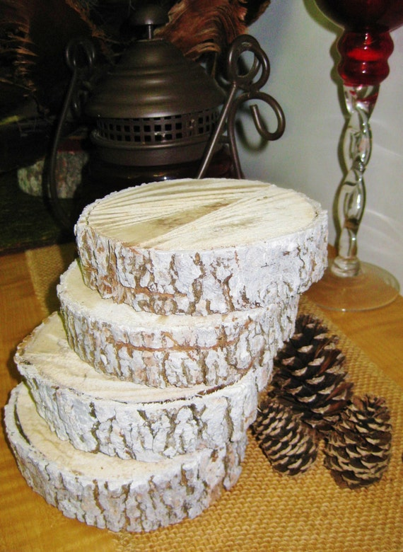 White wood slice centerpieces set of four by driftingideas