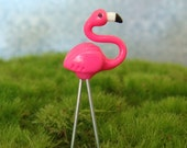 Tiny Pink Lawn Flamingo on Wire Legs for fairy gardens, terrariums and potted plants, miniature clay