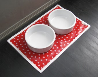 Red & White Dot Waterproof Pet Placemat with solid white border