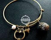 vintage bronze antiqued nut prayer box owl heart wish charms fashion women wiring bangle bracelet