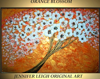 Original Large Abstract Painting Modern Contemporary Canvas Art Gold White Orange Blossom Tree 36x24 Palette Knife Texture Oil J.LEIGH