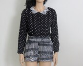 polka dot black and white lace vintage crop top / blouse s / m