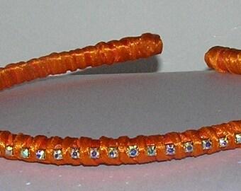 Handmade ORANGE headband with rhinestones girl headband