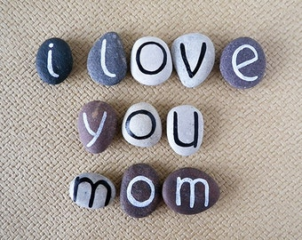 Mother's Day Gift Idea, I Love You Mom, 11 Magnets Letters, Custom Quote, Love Says, Beach Pebbles by Happy Emotions, Sea Stones, Rocks
