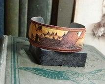 Native American jewelry Tipi bracelet Edward S Curtis Mixed media jewelry