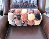 Puff patch pillow in velveteen 21 - lumbar pillow