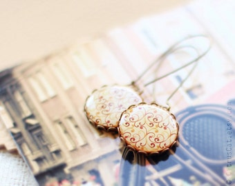Red orange swirls earrings, rustic jewelry, abstract jewelry, yellow earings, romantic jewelry, boho jewelry