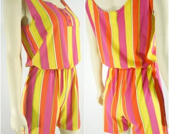 80s Neon New Wave Romper Playsuit - sm, med