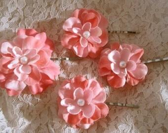 Coral Flower Hair Pin Flowers Hair Clip  Bridal Flower Hair Pins Bridal Hair Accessories Wedding Hair Accessory