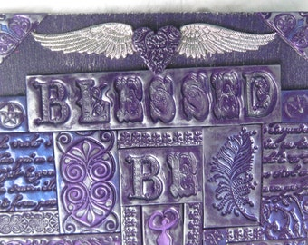 Blessed Be goddess witchy mixed media polymer clay mosaic wall art altar