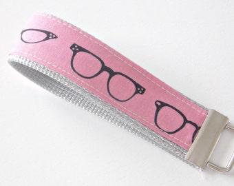 Pink Sunglasses Key Fob - Sunglasses Fabric - Pink Key Fob