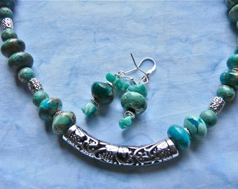 17 Inch Turquoise Imperial Jasper Tibetan Tube Necklace and Earrings