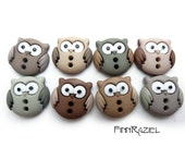 8 little owls buttons varios brown 15x16mm  children button - finnraziel