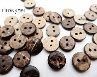 8 real coconut buttons ø15mm wooden buttons