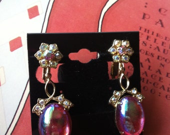 Vintage Gold Tone Pink Rhinestone Flower Floral Clip On Dangly Earrings Signed Coro