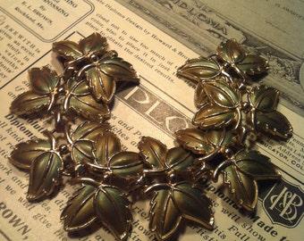 Vintage Gold Tone Wide Leaf Link Bracelet