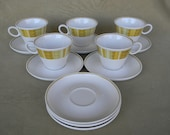 Vintage Mid Century Franciscan Antigua Flat Cup and Saucer Set of Five
