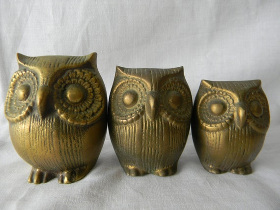 Vintage mid century solid brass owls set of desk ornament