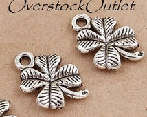4 Antiqued Silver Alloy Four Leaf Clover Charms - AE506 ZB