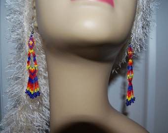EXCLUSIVE New Design Spiritual Clarity Boho Hippie Gypsy Native style 3 plus hand beaded delica seed earrings
