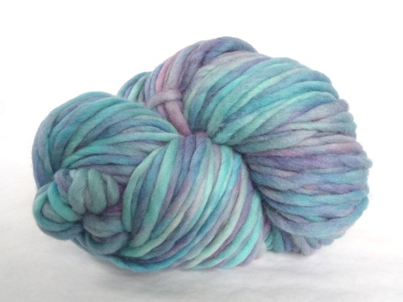 "Mega skein of super bulky wool yarn, hand dyed in ""Mother of Pearl"""