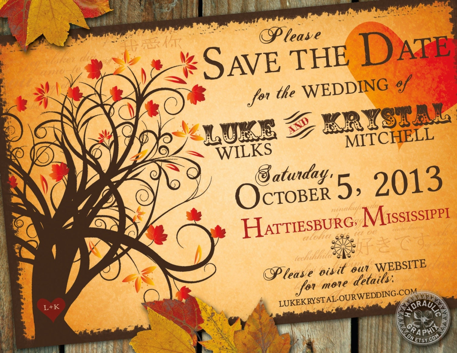 Halloween Wedding Invitation: Fall Save The Date Wedding Invitation With By HydraulicGraphix