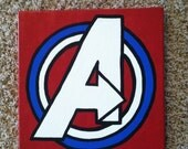 "Avengers logo (12""x12"") Canvas Painting"