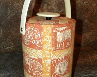 Ice Bucket African Print Vinyl in Rusts, Ivory and Tans Tall Padded Like New