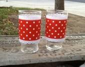 2 Vintage Achor Hocking Polka Dot Glasses
