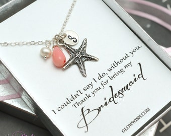 Bridesmaid gifts, Beach wedding jewelry, Coral pendant, Starfish necklace, Message cards, Thank you gifts for bridesmaids