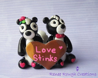 Skunk Couple Love Stinks-Polymer Clay